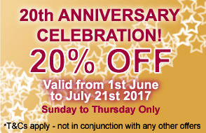 20 per cent off June 1st - July21st - Sun thru Thurs - Celebrate 20 years of Casanova with us!